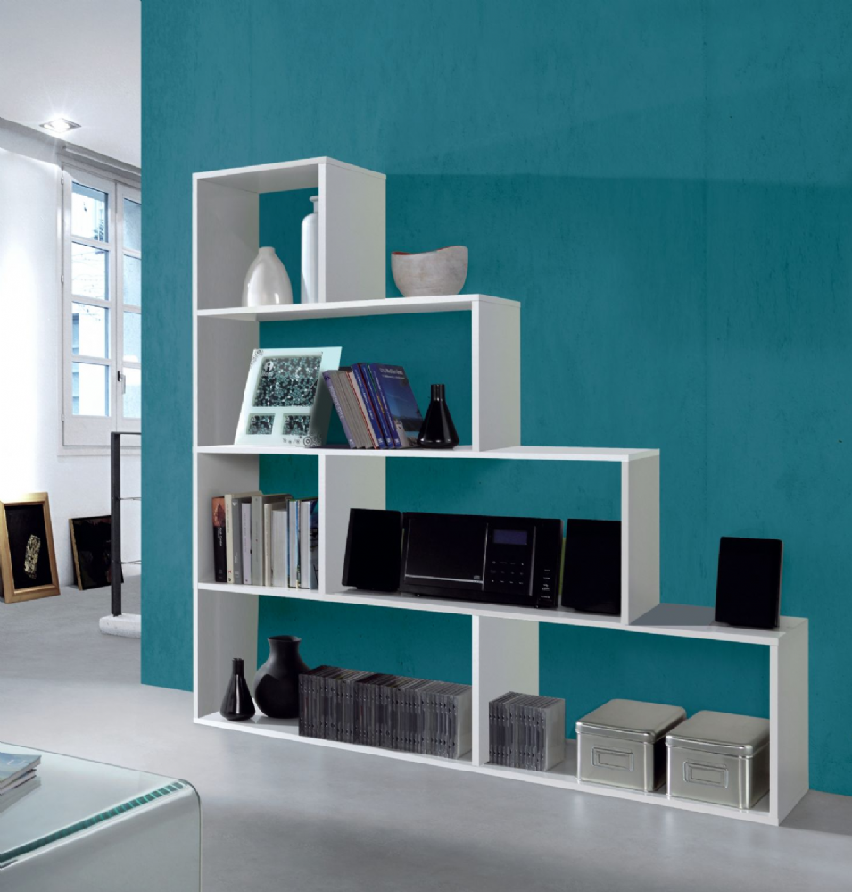 Step Bookcase White Gloss | Amos Mann furniture Wholesale